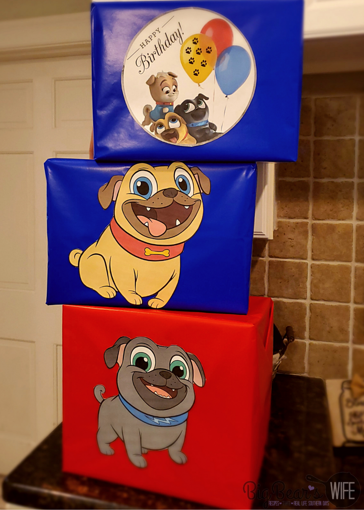 Box decorations for Puppy Dog Pal Party