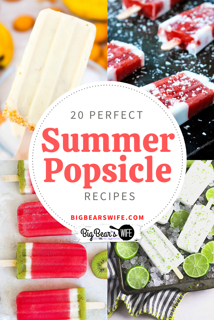 20 Perfect Summer Popsicle Recipes - Beat the summer heat with these 20 of the most perfect summer Popsicle recipes that you can make at home! via @bigbearswife