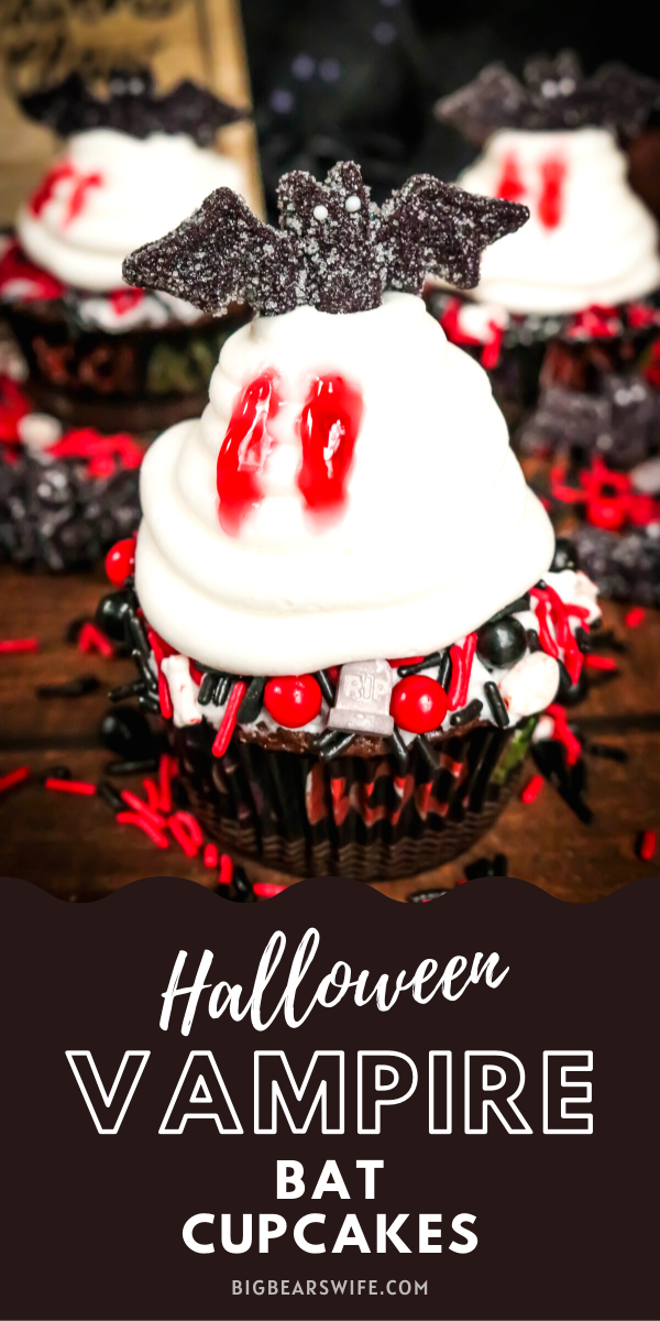 Vampire Bat Cupcakes - Welcome Halloween with these fun and easy Vampire Bat Cupcakes! Vampire bats are resting on top of each cupcake  but they made sure to snag a bite before they did! via @bigbearswife