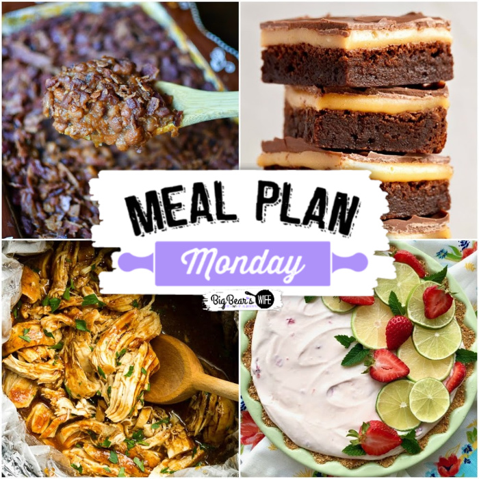 Hey y'all! Welcome to a delicious Meal Plan Monday 222! This week we're featuring recipes for Strawberry Margarita Icebox Pie,  Slow Cooker Asian Chicken,  Indulgent Millionaire Brownie Bars, and Country Style Baked Beans!