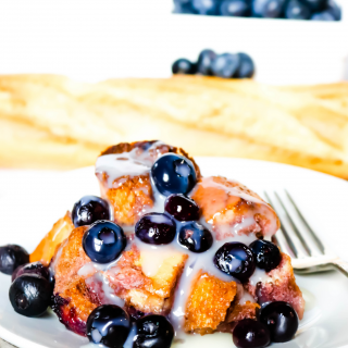 Blueberry Bread Pudding with glaze