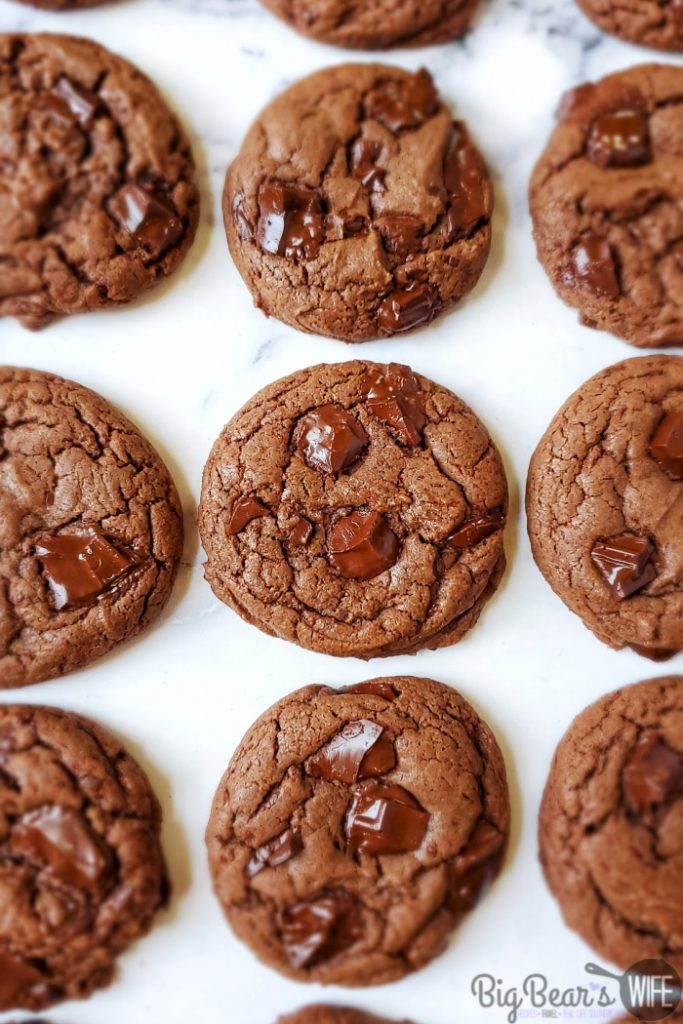 Chocolate Chunk Chocolate Cake Mix Cookies - These Chocolate Chunk Chocolate Cake Mix Cookies easily mixed and baked in about 30 minutes and they're perfect for any chocolate lover! They're soft and packed with chocolate chunks!