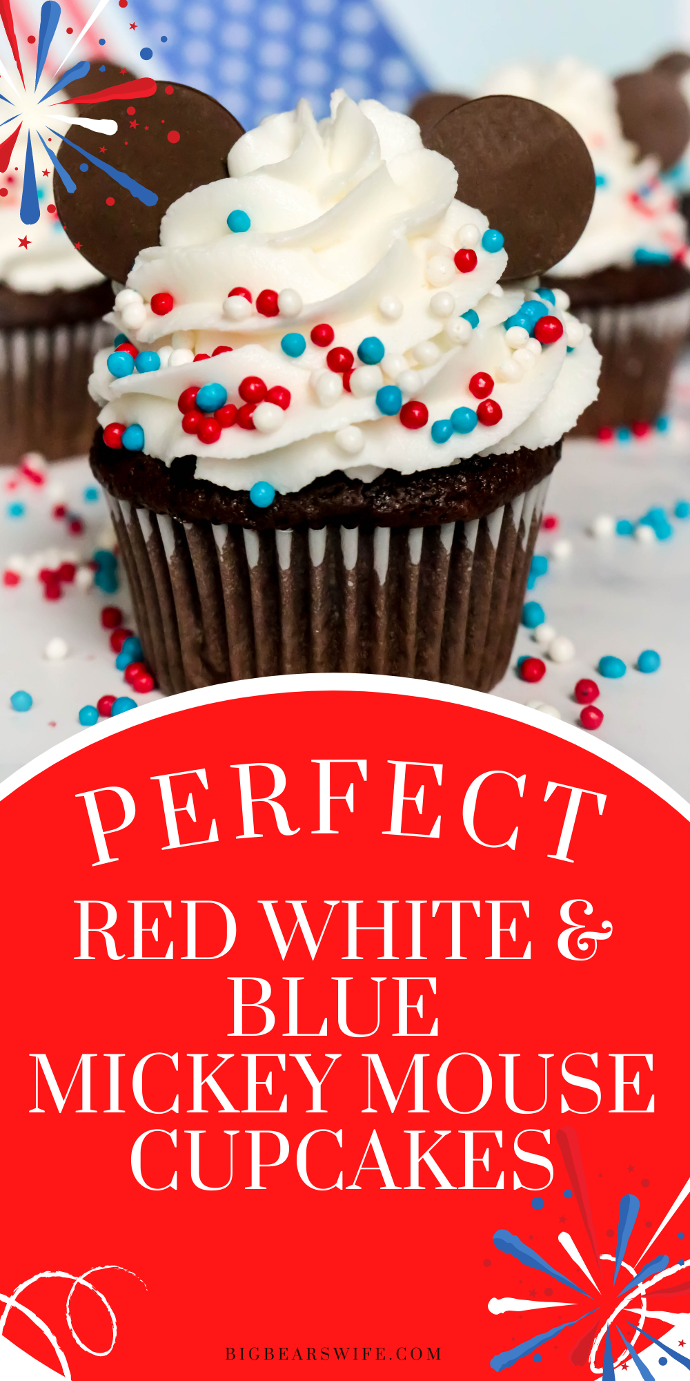 We might not be celebrating the 4th of July at Disney World this year but we're bringing Disney Magic home with these fun and festive 4th of July Mickey Mouse Cupcakes! These are perfect for any patriotic holiday! via @bigbearswife