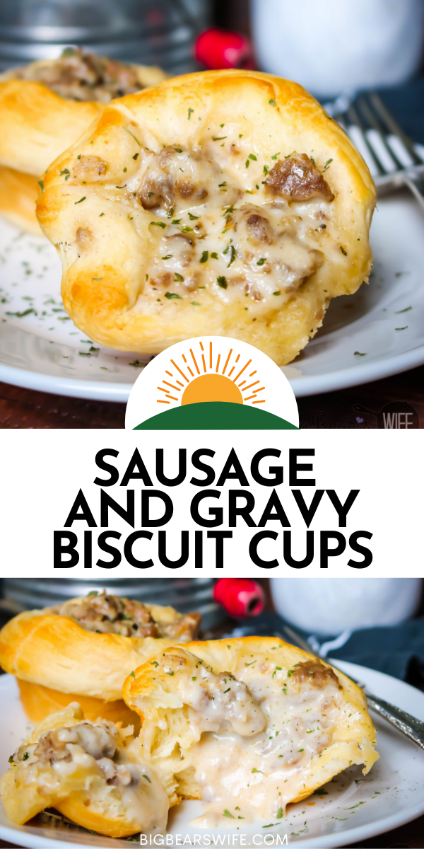 These little biscuit cups are packed full of homemade southern sausage gravy and then baked until golden brown! Sausage and Gravy Biscuit Cups are perfect for breakfast or brunch! via @bigbearswife