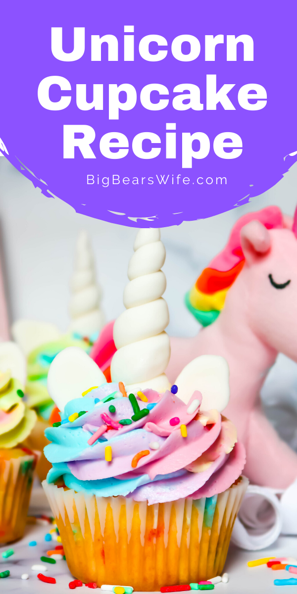 Unicorn Cupcakes! These magical unicorn cupcakes are filled with rainbow sprinkles, topped with a magical color swirled frosting and decorated with more sprinkles, a homemade marshmallow fondant Unicorn horns and ears! Perfect for anyone that love magic and unicorns! via @bigbearswife