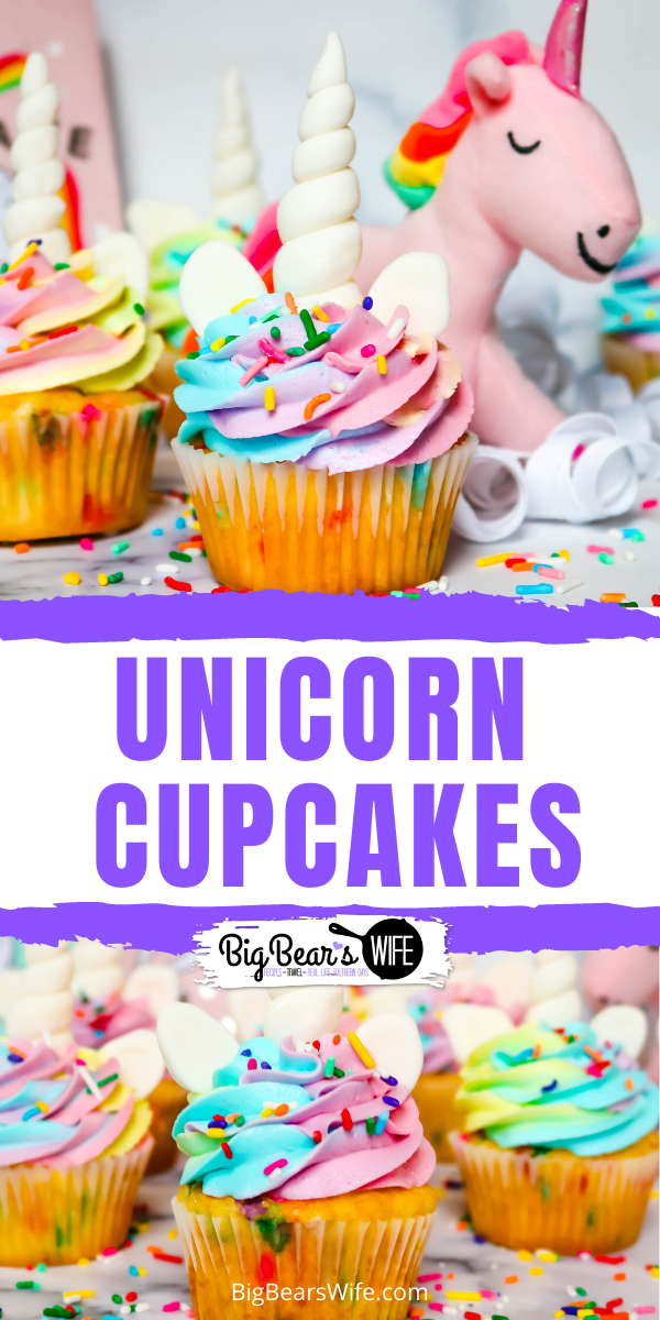 These magical unicorn cupcakes are filled with rainbow sprinkles, topped with a magical color swirled frosting and decorated with more sprinkles, a homemade marshmallow fondant Unicorn horns and ears! Perfect for anyone that love magic and unicorns! via @bigbearswife
