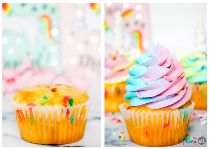 Piping frosting onto Unicorn Cupcakes