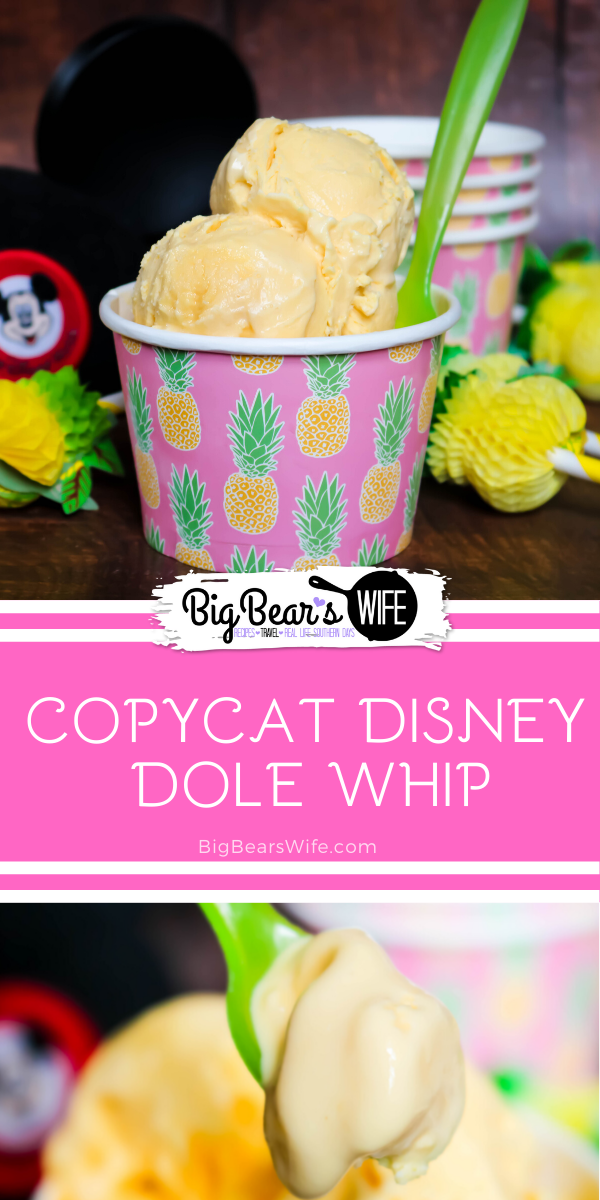 If you love the Dole Whips at Disney then you're going to want to save this no churn recipe for Copycat Disney Dole Whips and make it asap!  via @bigbearswife
