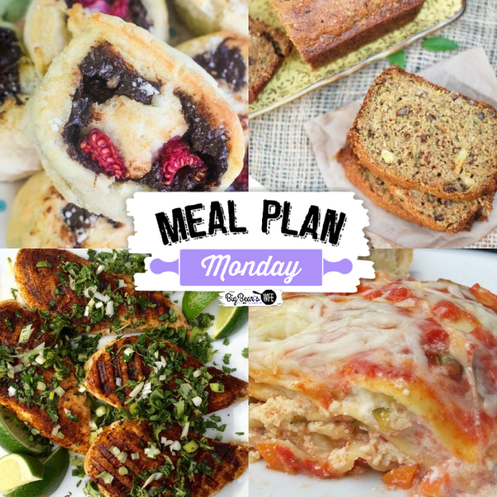 This week's Meal Plan Monday featured recipes include Vegetable Lasagna, Pineapple Zucchini Bread, Grilled Chili Spiced Chicken with Cilantro Lime Gremolata, & Nutella Stuffed Buttermilk Biscuits.