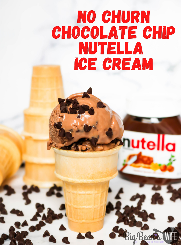 No Churn Chocolate Chip Nutella Ice Cream - Use this recipe to learn how to make homemade No Churn Chocolate Chip Nutella Ice Cream that doesn't require an ice cream maker! If you're allergic to Nutella use a nut-free chocolate spread to create a nut free homemade chocolate ice cream!