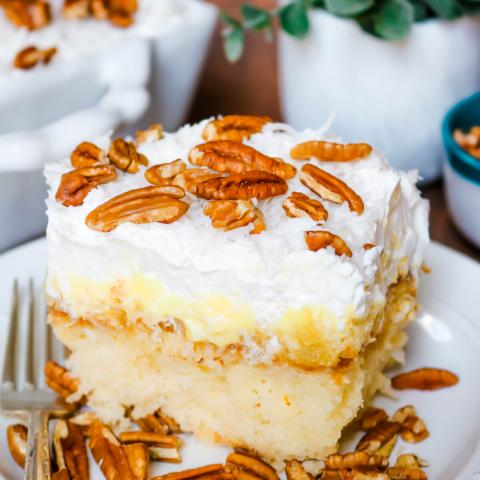 Slice of Southern Pineapple Sunshine Cake