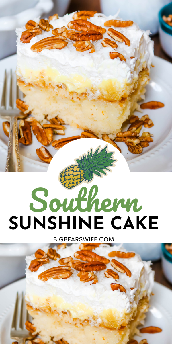 This Southern Pineapple Sunshine Cake is a doctored cake mix cake with pineapples, cool whip, coconut and pecans!