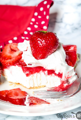 Strawberry Jello Cream Cheese Pie on white plate