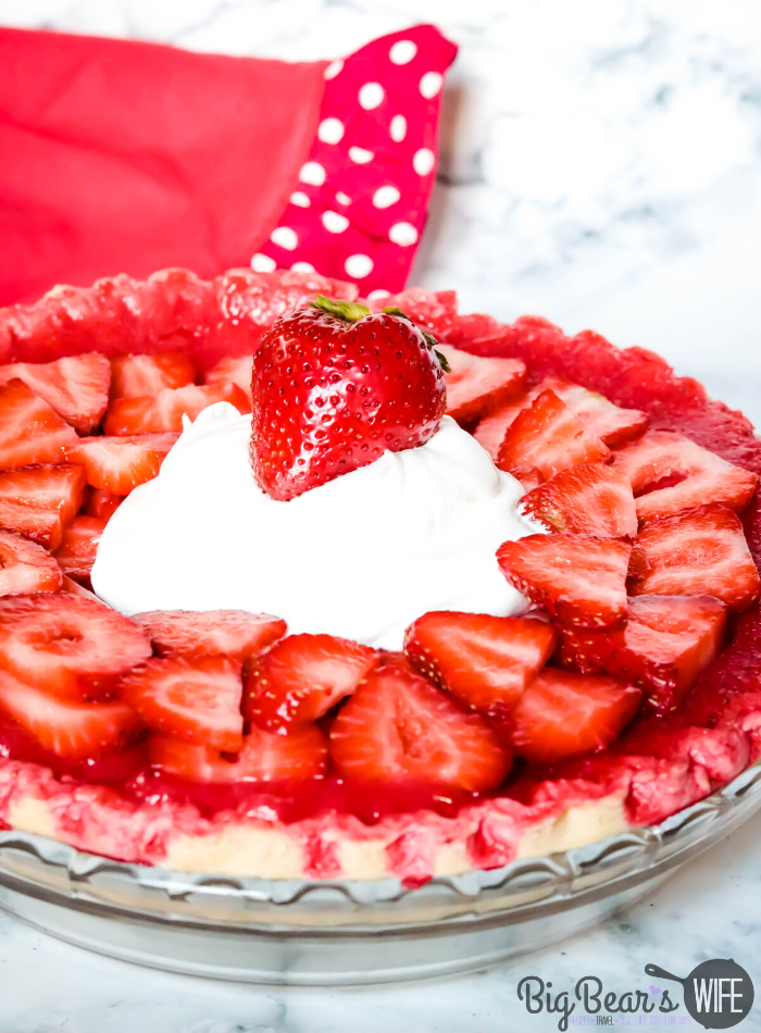 Whole Strawberry Jello Cream Cheese Pie in Pie Dish