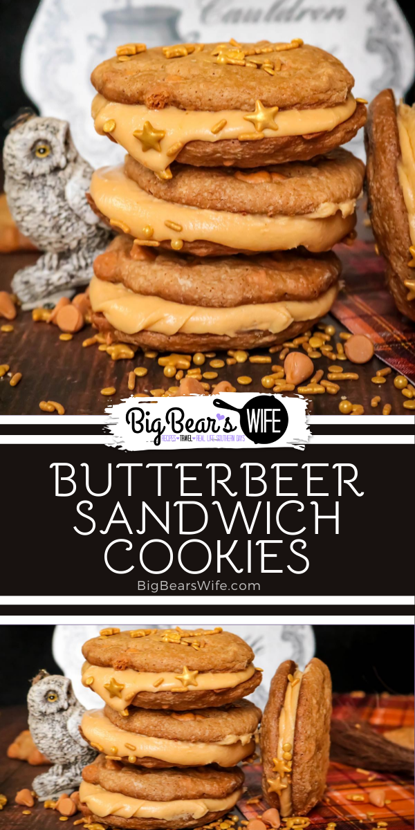 These charming ButterBeer Sandwich Cookies are inspired by the famous ButterBeer from the Harry Potter books. Butterscotch and cream soda make up both the cookies and the filling - plus they're decorated with a few magical golden sprinkles.