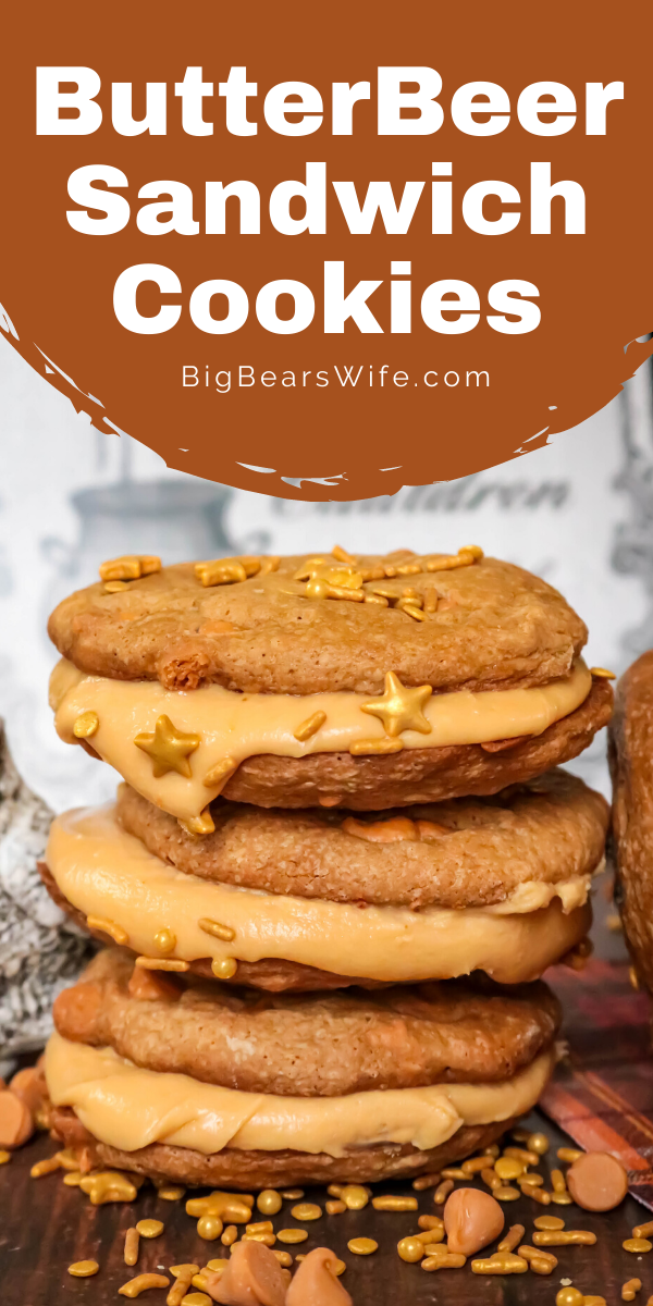 These charming ButterBeer Sandwich Cookies are inspired by the famous ButterBeer from the Harry Potter books. Butterscotch and cream soda make up both the cookies and the filling - plus they're decorated with a few magical golden sprinkles. via @bigbearswife
