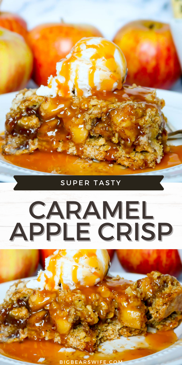 I love my famous Apple Crisp recipe but this Caramel Apple Crisp is beyond amazing since we've added a bottom crust and a wonderful  caramel sauce!  via @bigbearswife