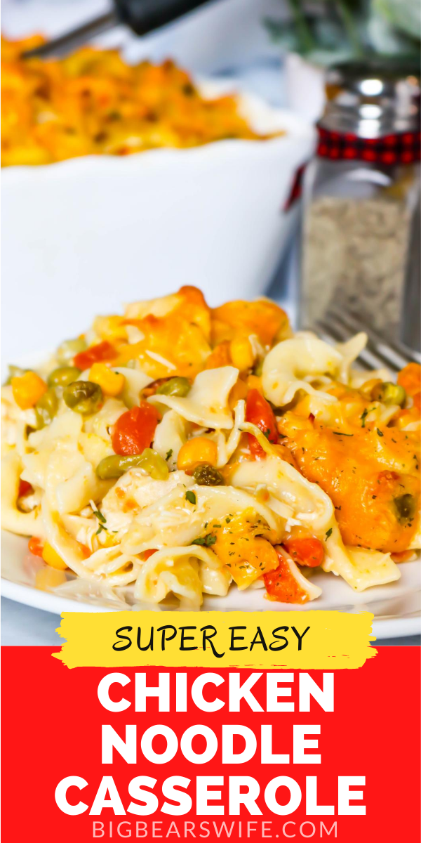 This super easy Chicken Noodle Casserole is chicken noodle soup in casserole form. This casserole made with chicken, vegetables and egg noodles is a classic southern casserole the you're going to love adding to the menu!