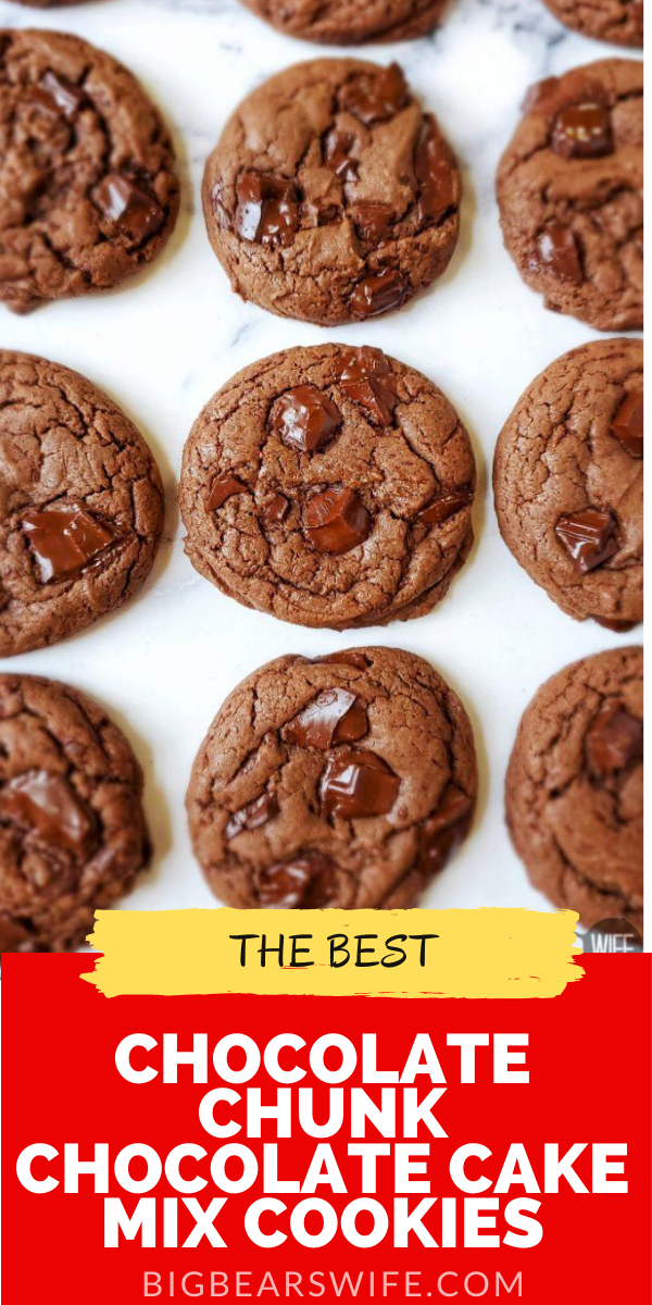Chocolate Chunk Chocolate Cake Mix Cookies - These Chocolate Chunk Chocolate Cake Mix Cookies easily mixed and baked in about 30 minutes and they're perfect for any chocolate lover! They're soft and packed with chocolate chunks!  via @bigbearswife