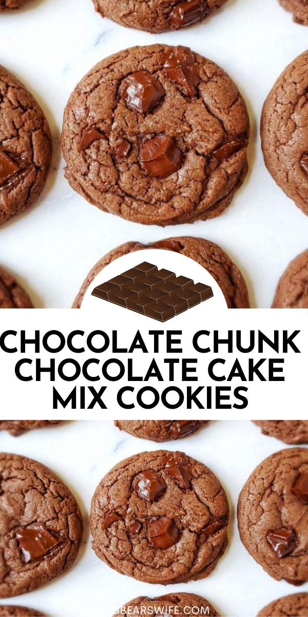 CHOCOLATE CHUNK CHOCOLATE CAKE MIX COOKIES via @bigbearswife
