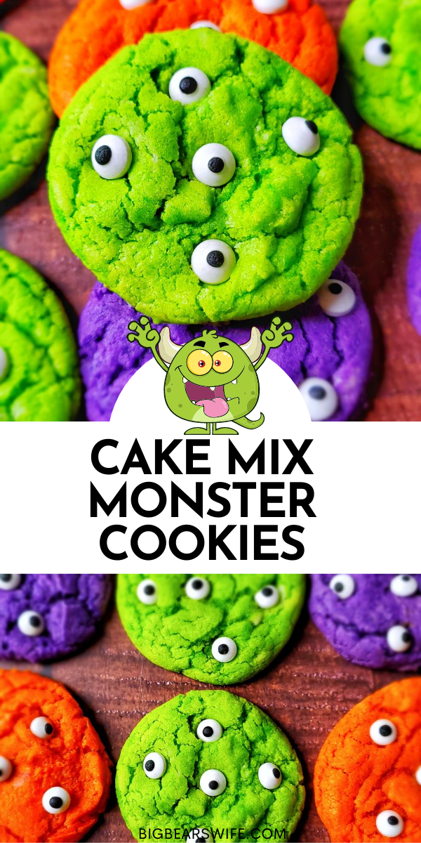 These cute and spooky Cake Mix Monster Cookies are made using white cake mix or vanilla cake mix, a little coloring and candy eyeballs. They're inspired by the boxed Halloween cookie mix at the big box stores!  via @bigbearswife