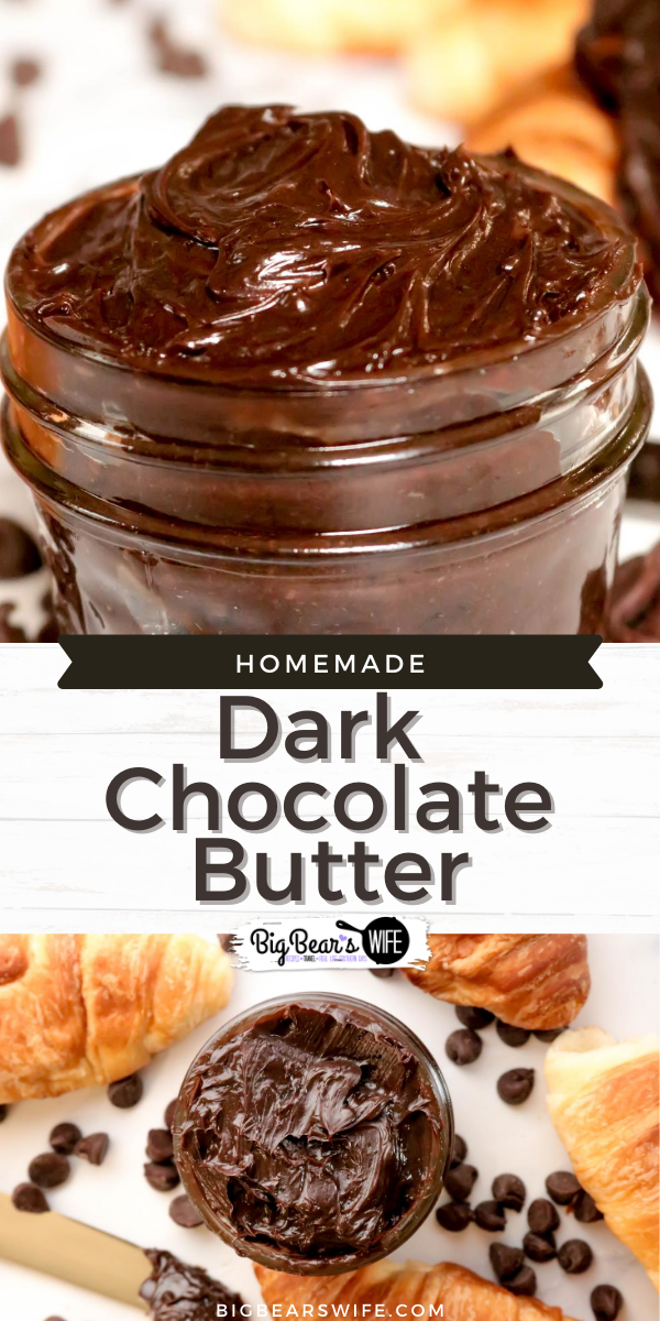 This quick and easy homemade Dark Chocolate Cinnamon Butter will soon become your favorite spread for just about everything. Combine dark chocolate and cinnamon with butter to create the most amazing compound butter. Perfect for breakfast croissants, pancakes, waffles and biscuits. via @bigbearswife