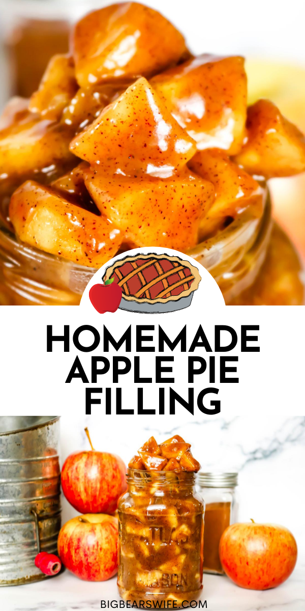 This super easy stove top Homemade Apple Pie Filling recipe will become a family favorite! Canned apple pie filling is fine, but if you want to try your own hand at making apple pie filling, this recipe is perfect for you! via @bigbearswife