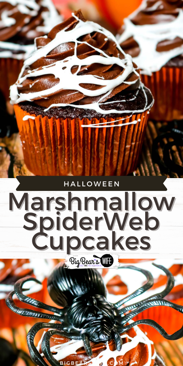 Make a spooky but tasty mess with these fun Marshmallow Spider Web Cupcakes! Homemade chocolate cupcakes and chocolate frosting get covered in creepy homemade marshmallow spiderwebs for a dessert that's perfect for Halloween!  via @bigbearswife