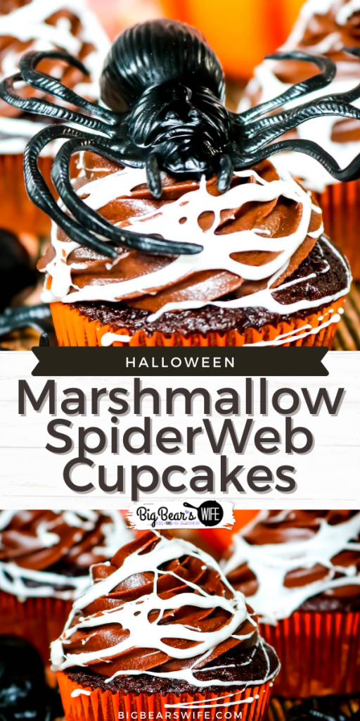 Make a spooky but tasty mess with these fun Marshmallow Spider Web Cupcakes! Homemade chocolate cupcakes and chocolate frosting get covered in creepy homemade marshmallow spiderwebs for a dessert that's perfect for Halloween!