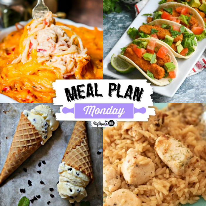 Welcome to Meal Plan Monday 230! We're sharing tons of recipes and featuring recipes like, Chili Lime Fish Stick Tacos, Skillet Chicken and Rice, Mint Chocolate Chip Ice Cream and The BEST Chicken Spaghetti!