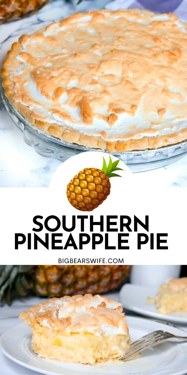 "Southern Pineapple Pie - This Southern Pineapple Pie has a burst of tropical summer sunshine baked right into it. Full of juicy pineapple with a custard center, fluffy meringue, and a buttery, flaky crust makes this recipe a ""must-try"" pie.  via @bigbearswife"
