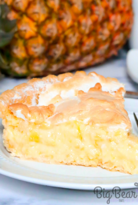 "This Southern Pineapple Pie has a burst of tropical summer sunshine baked right into it. Full of juicy pineapple with a custard center, fluffy meringue, and a buttery, flaky crust makes this recipe a ""must-try"" pie."