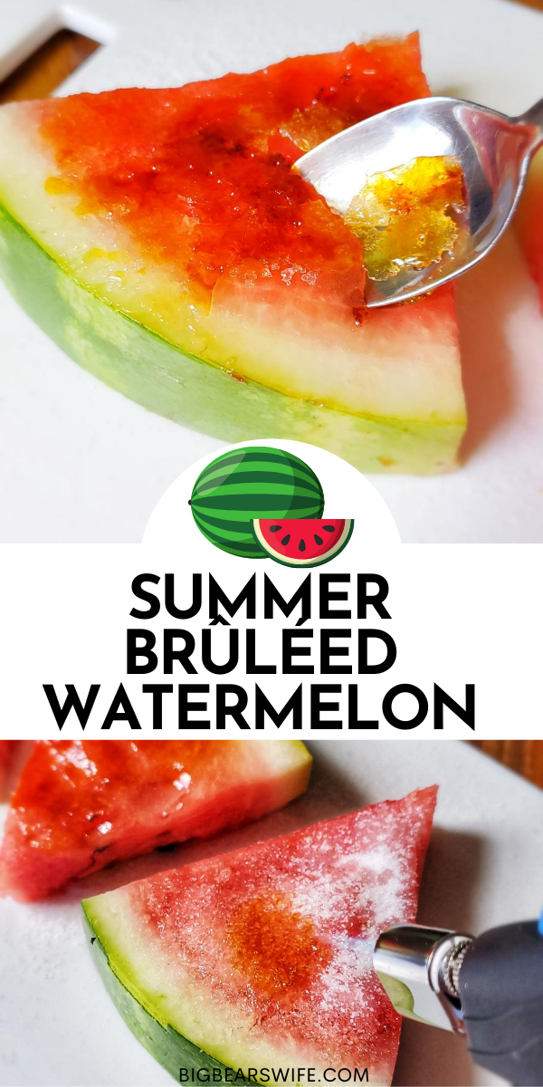 You've heard of  Crème brûlée but have you had Summer Brûléed Watermelon? Forget the salt on that watermelon, we're adding some sugar! This sweet summer treat takes fresh watermelon and adds a crunchy Brûléed topping that is dessert perfection!  via @bigbearswife