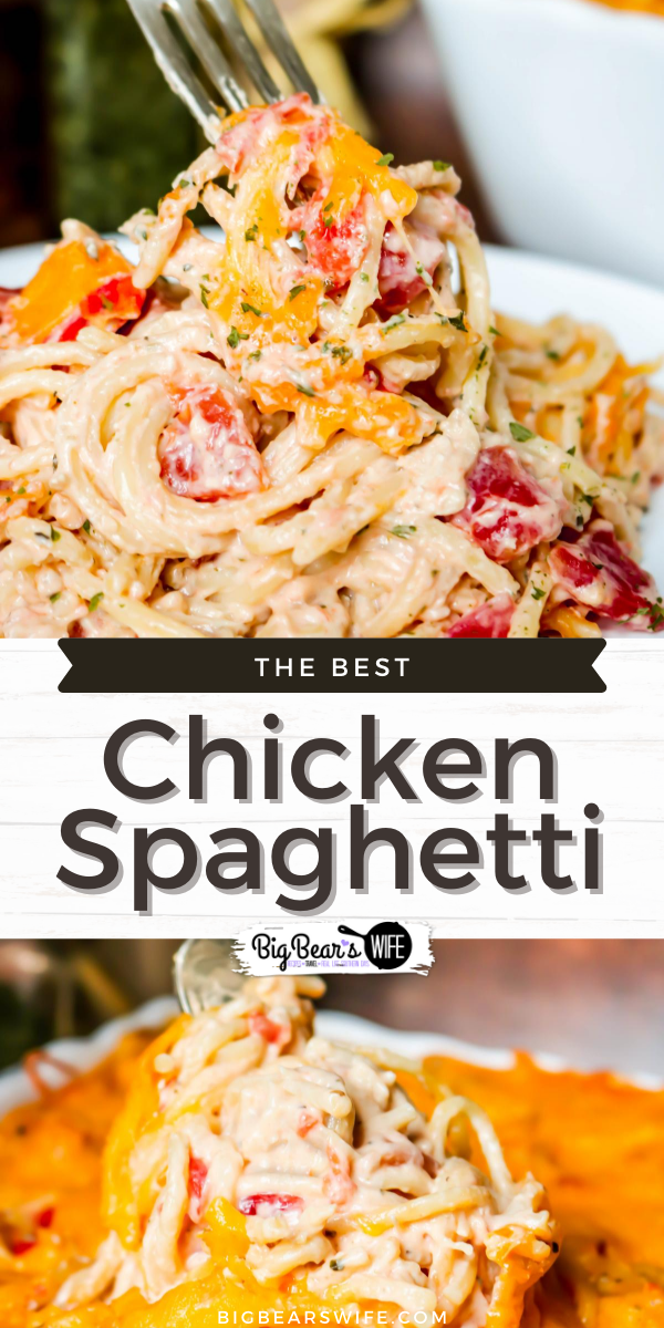 The Best Chicken Spaghetti Recipe is super easy to toss together, full of flavor and is ready in about 45 minutes! This is an easy cheesy, creamy, family favorite chicken casserole!  via @bigbearswife