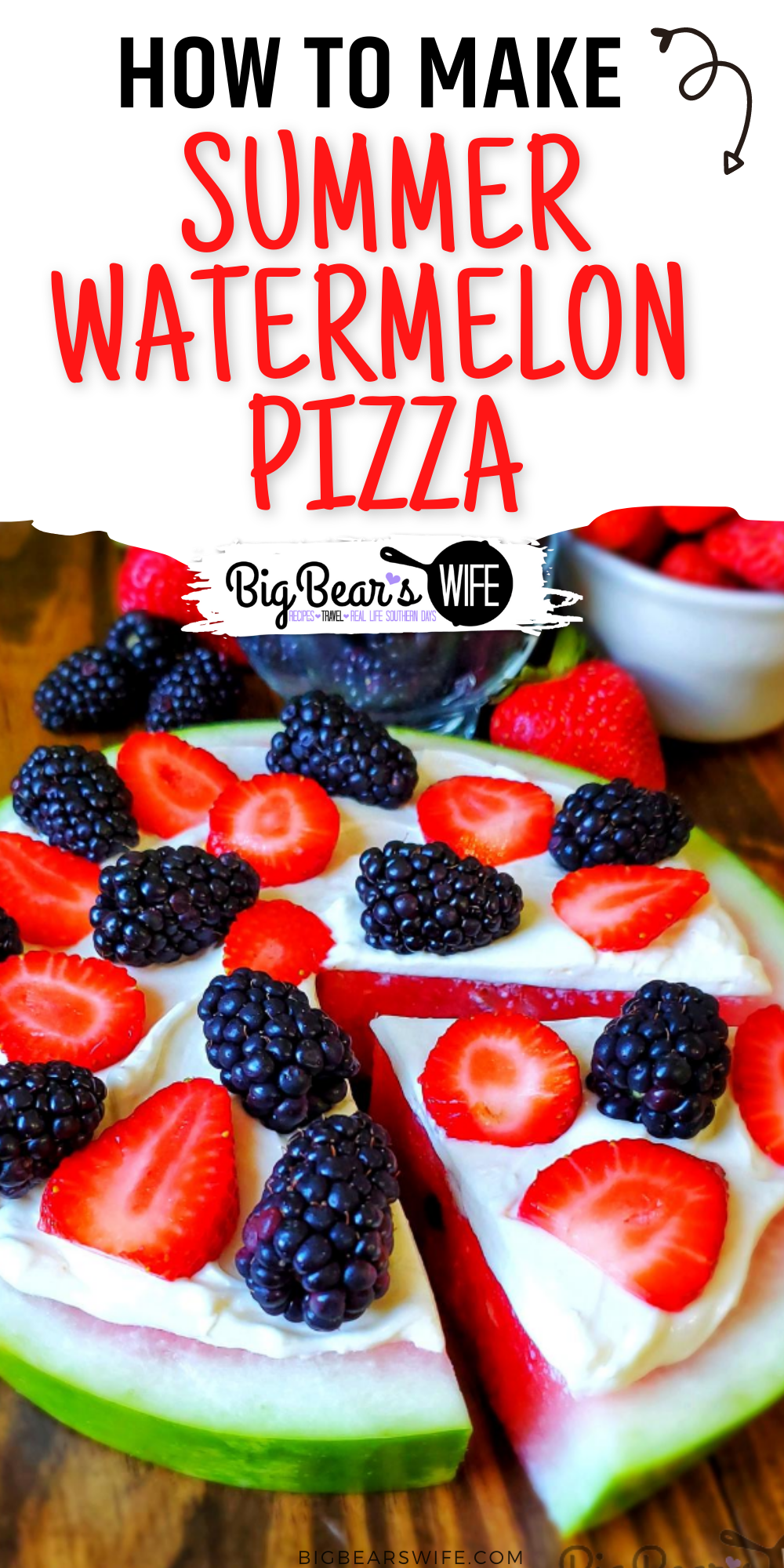 Looking for an easy summer dessert? Need to use up some watermelon from the cookout? Try this Watermelon Pizza that's easy to make and totally customizable! via @bigbearswife