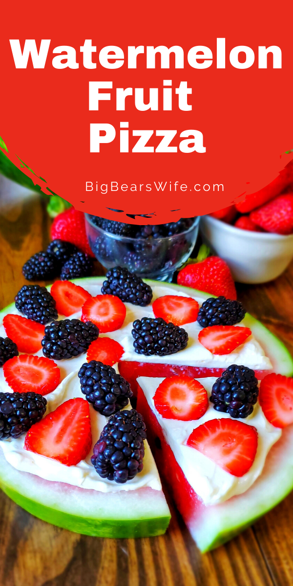 Looking for an easy summer dessert? Need to use up some watermelon from the cookout? Try this Watermelon Pizza that's easy to put make and totally customizable! via @bigbearswife