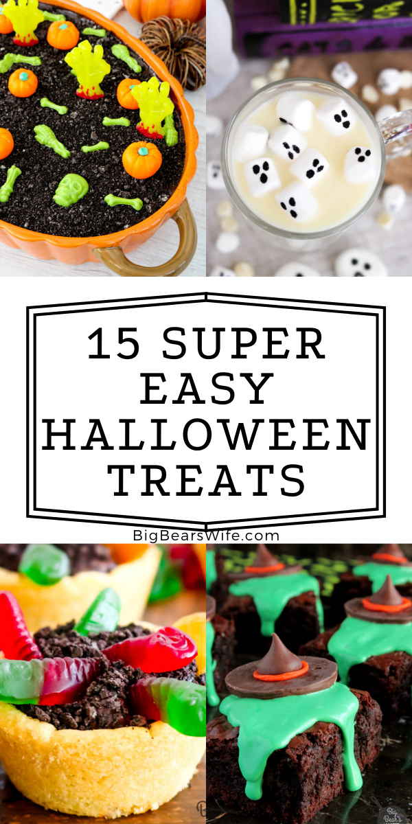 15 SUPER EASY HALLOWEEN TREATS - If you want to make some great Halloween desserts and Halloween treats without spending a ton of time in the kitchen you'll want this list of 15 Super Easy Halloween Treats recipes! No bake eclairs, apple slices, sheet cakes and more are easily transformed into Halloween desserts without any fuss or witchy magic! via @bigbearswife