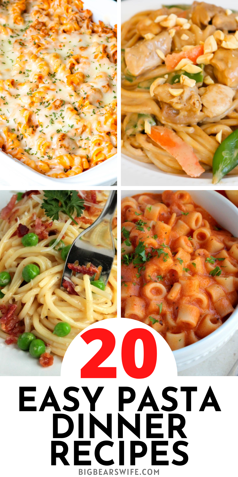 20 Easy Pasta Dinner Recipes - Here you'll find 20 Easy Pasta Dinner Recipes that are perfect for weekday dinners and perfect for feeding your family! These quick and easy pasta recipes are some of our favorite family pasta dinner ideas! via @bigbearswife