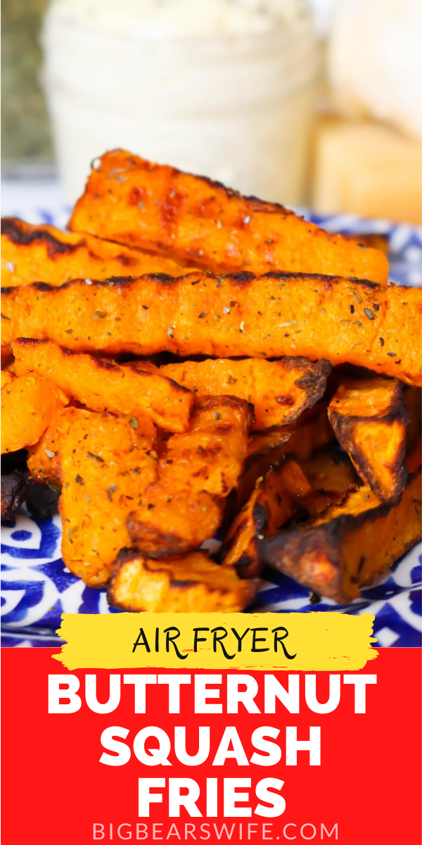 This recipe for Air Fryer Butternut Squash Fries with Parmesan Garlic Dipping Sauce is a great healthy side dish or snack! They're so easy to make too!  via @bigbearswife
