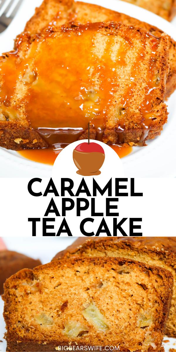 Caramel Apple Tea Cake is a wonderful and easycake made with caramel tea steeped milk, apples and vanilla.  via @bigbearswife