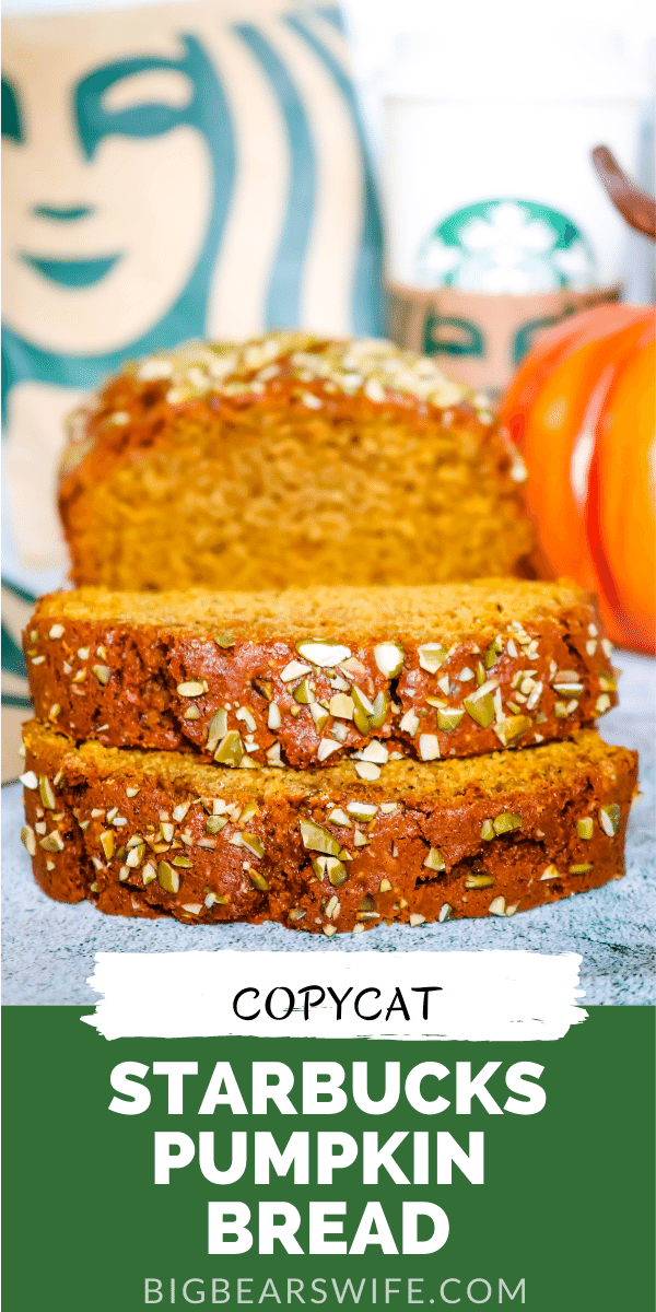This homemade Copycat Starbucks Pumpkin Bread may just a easy pumpkin bread recipe that is better than the Starbucks pumpkin bread recipe! This is an easy, moist pumpkin bread that is topped with pumpkin seeds just like the pumpkin bread at Starbucks! via @bigbearswife