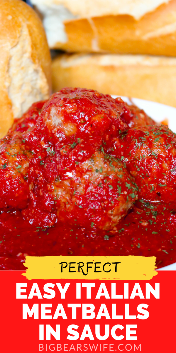 This Easy Italian Meatballs in Sauce Recipe is one that my Italian best friend taught me to make and it's so good! These meatballs are baked in the oven in sauce and perfect for pasta, subs and perfect for just eating with a fork!