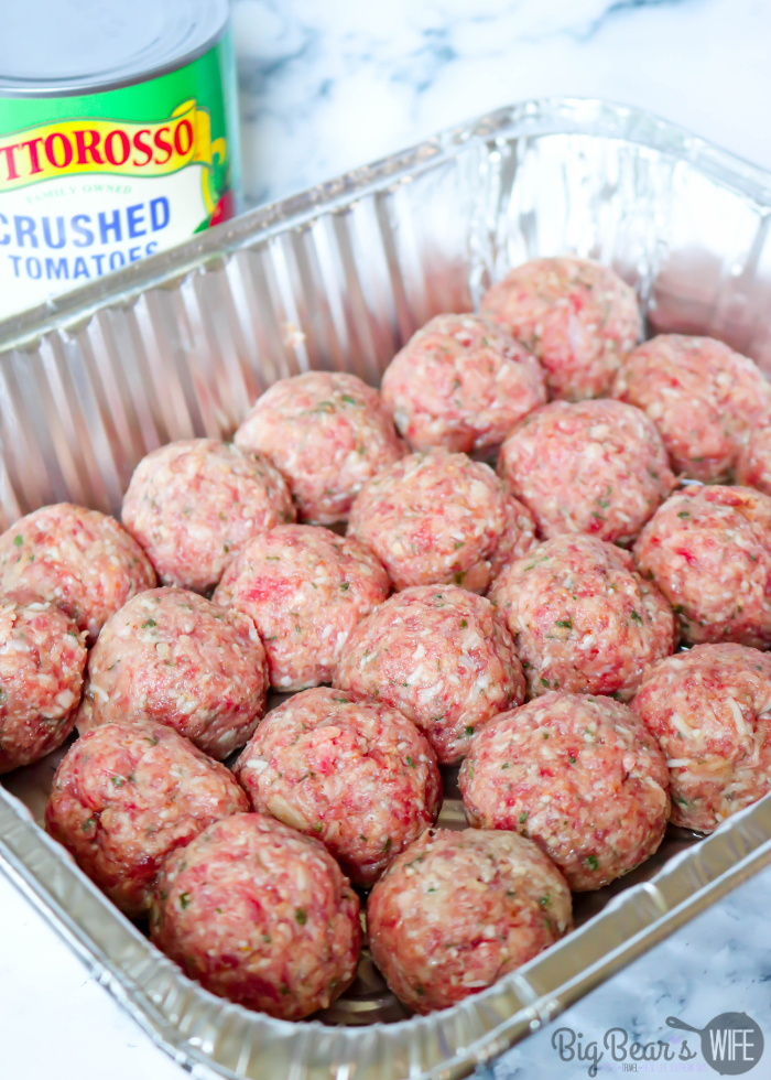 Raw meat balls in pan