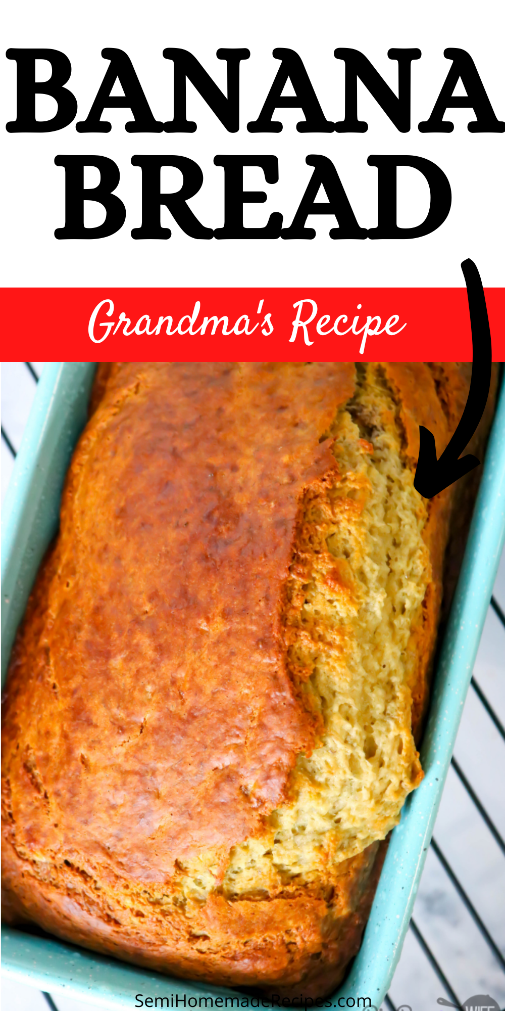 Grandma's Old-Fashioned Banana Bread is sure to become a family favorite. This banana bread recipe is super easy to make and takes 45 minutes to bake! via @bigbearswife