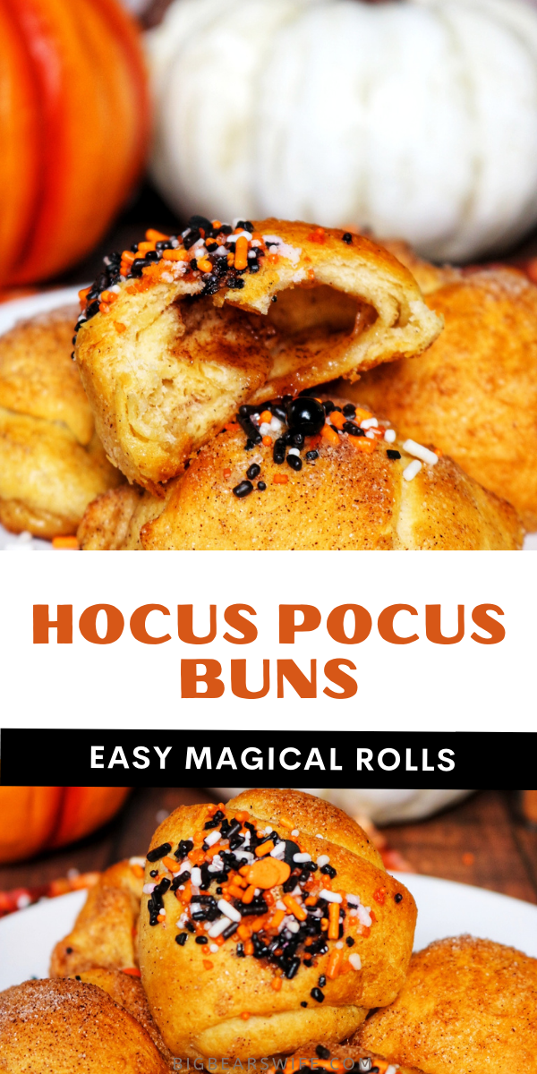 These super easy Hocus Pocus Buns are marshmallow vanishing breakfast rolls with tasty cinnamon and sugar inside and out. These hocus pocus crescent rolls have a Halloween twist with Halloween sprinkles but they're amazing without the sprinkles as well.