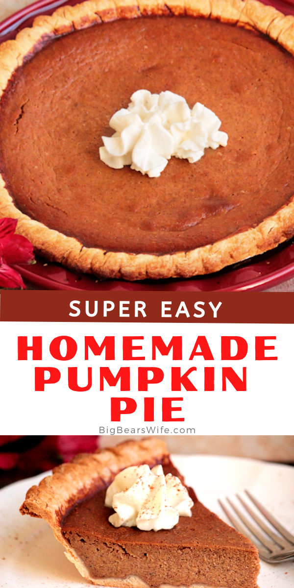 Homemade Pumpkin Pie from scratch is easier than it sounds! This Pumpkin Pie is made with Pumpkin puree, fall spices, eggs, sugar, vanilla and evaporated milk! This recipe will give you two pumpkin pies! Keep both or give one away!  via @bigbearswife