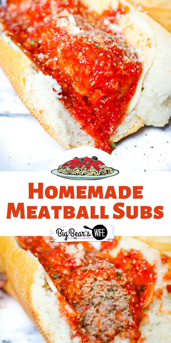 If you love Meatball Subs you're going to want this recipe for homemade meatballs for these Homemade Meatball Subs! These subs are delicious! via @bigbearswife