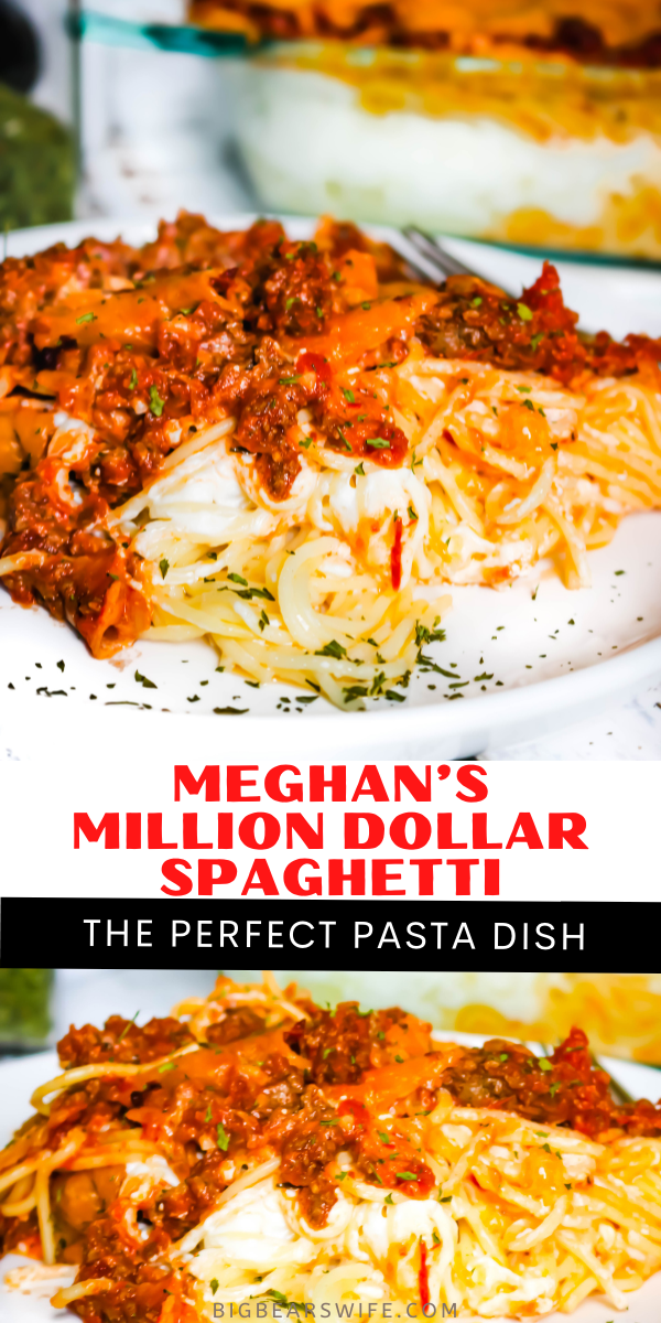 Meghan's Million Dollar Spaghetti is one of the best Million Dollar Spaghetti recipes ever! My sister in law has turned the famous Million Dollar Spaghetti into her own keepsake family recipe by making it super creamy and adding salsa! via @bigbearswife