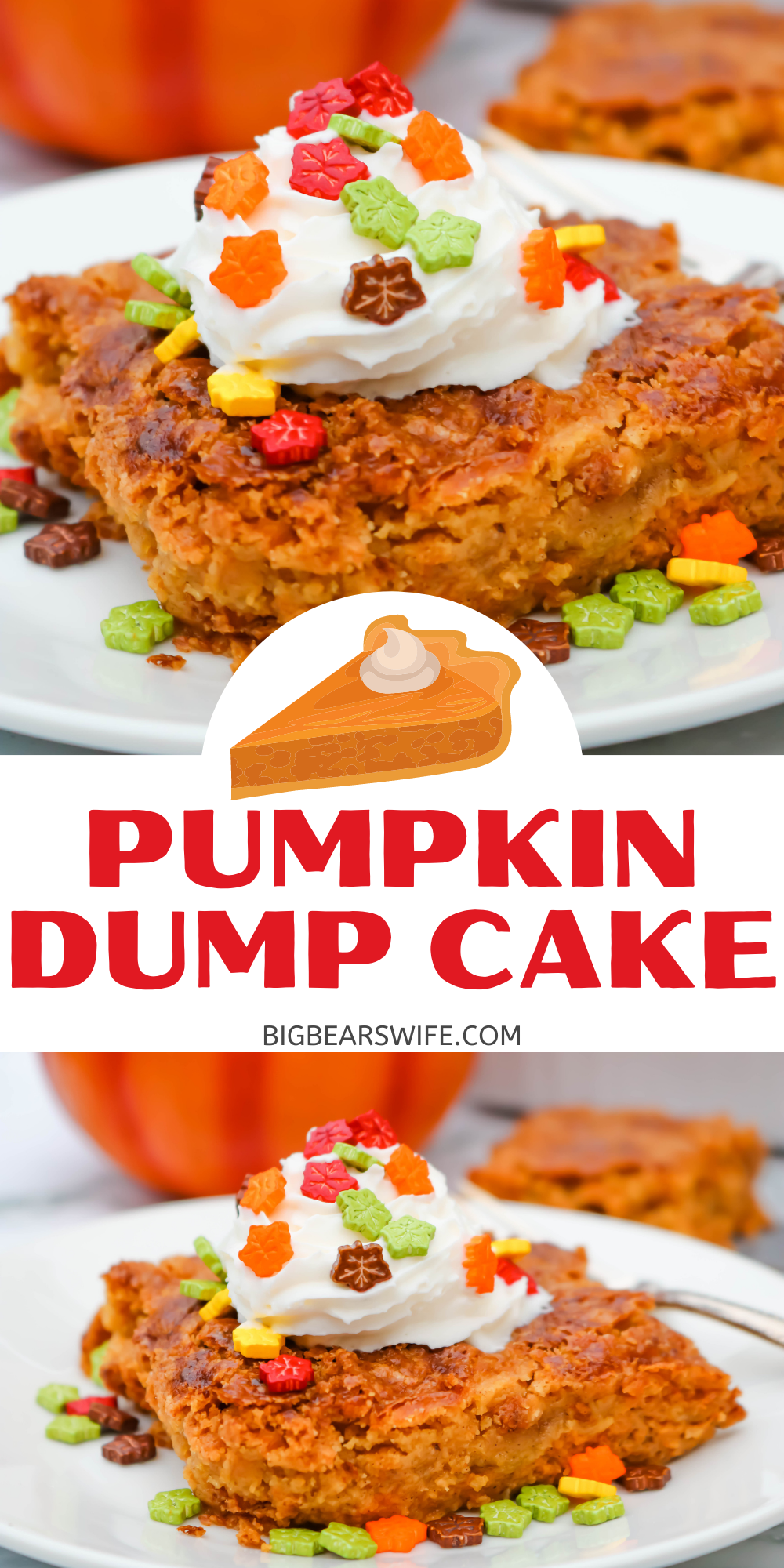 This Easy Pumpkin Dump Cake is one of the easiest fall desserts ever. This cake is a mix and dump type cake, it takes about 1 hour to bake and it taste like an upside down pumpkin pie!  via @bigbearswife