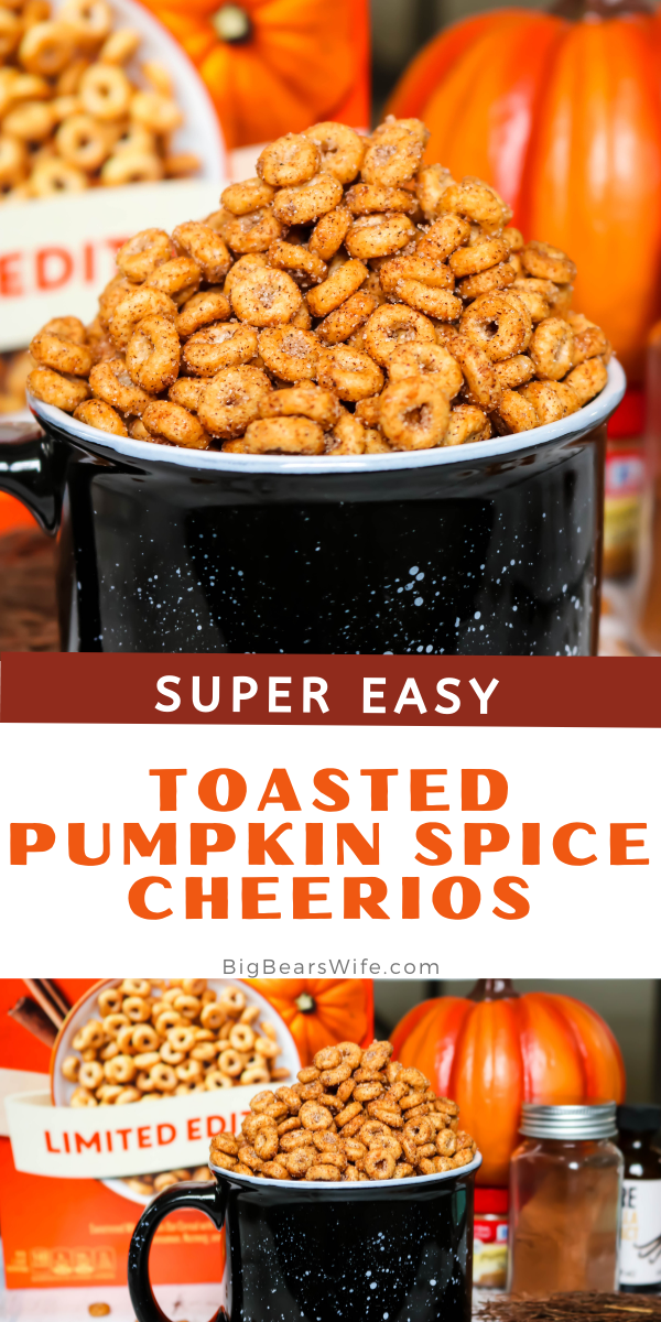 Love Pumpkin Spice? These Toasted Pumpkin Spice Cheerios are perfect for snacking and so quick to make! A toasted Cheerios vintage treat with a pumpkin spice twist!  via @bigbearswife
